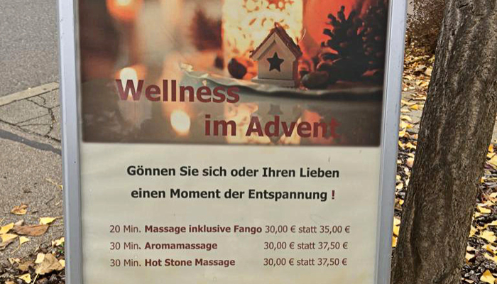 Wellnessmassagen im Advent
